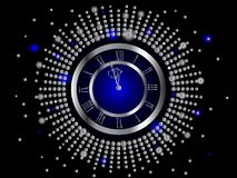 Silver New Year clock. Illustration vector illustration