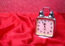 Silver New year clock on abstract background.  stock image