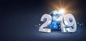 Silver New Year date 2019 composed with a blue planet earth, sun shining behind, on a glittering black background - 3D stock illustration