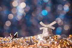 Silver new years toy Royalty Free Stock Photo