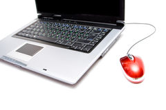Silver notebook with computer mouse. On white Stock Photo