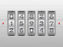 Silver number combination lock background Stock Image
