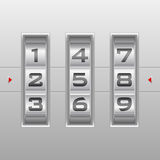 Silver number combination lock Royalty Free Stock Image