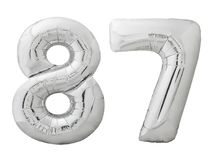 Silver number 87 eighty seven made of inflatable balloon isolated on white. Silver metallic number 87 eighty seven made of inflatable balloon isolated on white Royalty Free Stock Photo