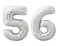 Silver number 56 fifty six made of inflatable balloon isolated on white Royalty Free Stock Photos