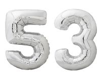 Silver number 53 fifty three made of inflatable balloon isolated on white Stock Photos