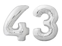 Silver number 43 forty three made of inflatable balloon isolated on white Royalty Free Stock Photography