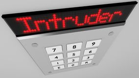 Silver number keypad with a intruder red led display. Silver number keypad closeup on a wall with a red led display on top showing the word intruder 3D Stock Photo