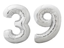 Silver number 39 thirty nine made of inflatable balloon isolated on white. Silver metallic number 39 thirty nine made of inflatable balloon isolated on white Stock Images