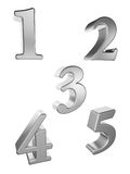 Silver number 1 to 5 Royalty Free Stock Image