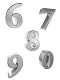 Silver number 6 to 9 Royalty Free Stock Photography