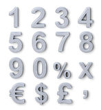 Silver numbers royalty free illustration