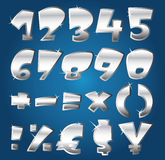 Silver numbers. Set of silver numbers and math signs Royalty Free Stock Photography