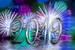 2019 silver numbers fireworks background. 2019 silver numbers, fireworks background royalty free illustration