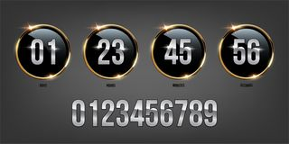 Silver numbers inside golden rings on dark background. Vector luxury counter. royalty free illustration