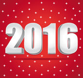 2016 Silver numbers on a red starry background. Happy New Year. Royalty Free Stock Image