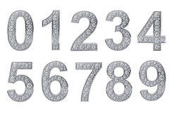 Silver numbers with white diamonds Royalty Free Stock Image