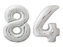Silver nummer 84 åttioåfyra gjorde av den isolerade uppblåsbara ballongen på vit Royaltyfria Foton