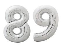 Silver nummer 89 åttionio gjorde av den isolerade uppblåsbara ballongen på vit Royaltyfri Fotografi