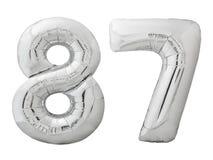 Silver nummer 87 åttiosju gjorde av den isolerade uppblåsbara ballongen på vit Royaltyfri Foto
