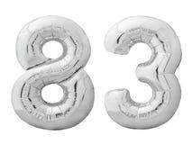 Silver nummer 83 åttiotre gjorde av den isolerade uppblåsbara ballongen på vit Arkivbilder