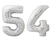 Silver nummer 54 femtiofyra gjorde av den isolerade uppblåsbara ballongen på vit Royaltyfri Bild