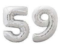 Silver nummer 59 femtionio gjorde av den isolerade uppblåsbara ballongen på vit Royaltyfri Foto