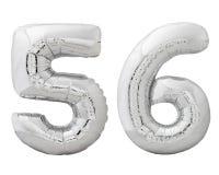 Silver nummer 56 femtiosex gjorde av den isolerade uppblåsbara ballongen på vit Royaltyfria Foton