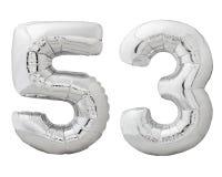 Silver nummer 53 femtiotre gjorde av den isolerade uppblåsbara ballongen på vit Arkivfoton