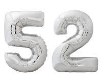 Silver nummer 52 femtiotvå gjorde av den isolerade uppblåsbara ballongen på vit Royaltyfria Foton