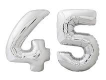 Silver nummer 45 fyrtiofem gjorde av den isolerade uppblåsbara ballongen på vit Royaltyfri Bild