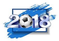 Silver nummer 2018 med fotbollbollen Arkivbilder