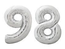 Silver nummer 98 nittio gjorde av den isolerade uppblåsbara ballongen på vit Royaltyfria Foton