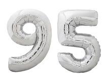 Silver nummer 95 nittiofem gjorde av den isolerade uppblåsbara ballongen på vit Arkivbild