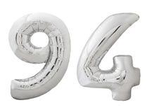 Silver nummer 94 nittiofyra gjorde av den isolerade uppblåsbara ballongen på vit Royaltyfria Foton