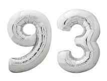 Silver nummer 93 nittiotre gjorde av den isolerade uppblåsbara ballongen på vit Arkivbilder