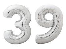 Silver nummer 39 trettionio gjorde av den isolerade uppblåsbara ballongen på vit Arkivbilder