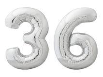 Silver nummer 36 trettiosex gjorde av den isolerade uppblåsbara ballongen på vit Arkivbild