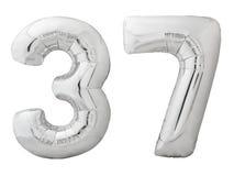 Silver nummer 37 trettiosju gjorde av den isolerade uppblåsbara ballongen på vit Royaltyfria Bilder