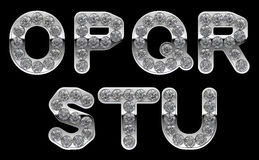 Silver O- U letters incrusted with diamonds Stock Photography