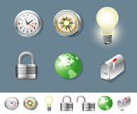 Silver objects. Illustration of set of silver objects - compass, clock, mailbox, lock, bulb and globe Royalty Free Stock Images