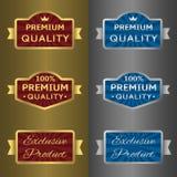 Silver och guld- etiketter royaltyfri illustrationer