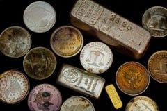Silver och guld- guldtacka - stänger och rundor royaltyfri fotografi
