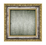 Silver och guld- ram med kanfasinre royaltyfri bild