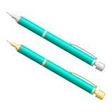 Silver- och guldblyertspennauppsättning realistisk penna Fotografering för Bildbyråer