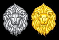 Silver- och guldlejonhuvud Royaltyfri Bild