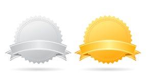 Silver och guldmedaljer vektor illustrationer
