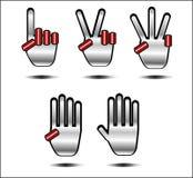 Silver och röd handsymbol royaltyfri illustrationer