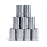Silver oil barrels Royalty Free Stock Image
