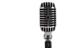 Silver old fashioned stage microphone closeup. MINSK, BELARUS - AUGUST 1, 2015: Silver old fashioned stage microphone like shure (Elvis microphone). Karaoke royalty free stock images